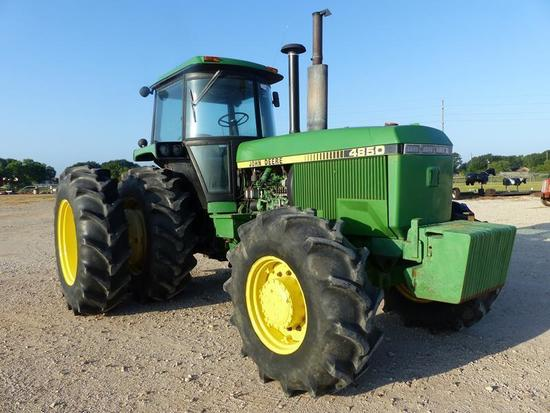 JD 4850 TRACTOR CAB, AIR, POWER SHIFT, 3 REMOTES, 4W DRIVE, DUALS, WEIGHTS, 7,988 HRS SHOWING, SN-RW