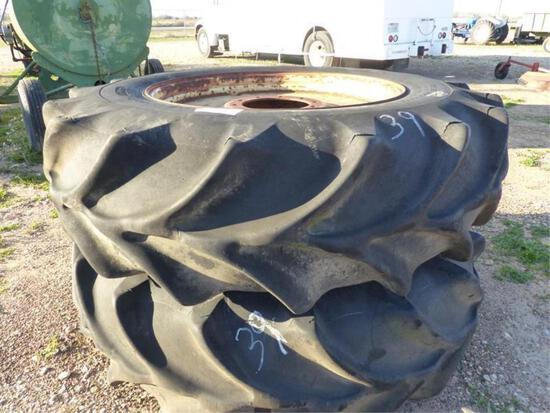20.8-38 TRACTOR TIRES ON 10 HOLE RIMS
