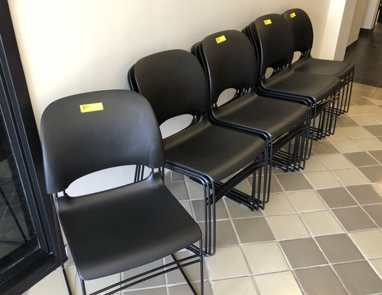 BLACK PLASTIC WITH METAL FRAME CHAIRS