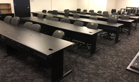 COMPUTER TABLES, INCLUDES WOODEN SHELVES,