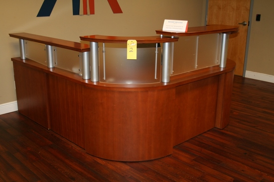 """L"" SHAPED RECEPTION DESK WITH ROLLING ADJUSTABLE"