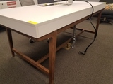 WHITE DESK WITH MATCHING CREDENZA