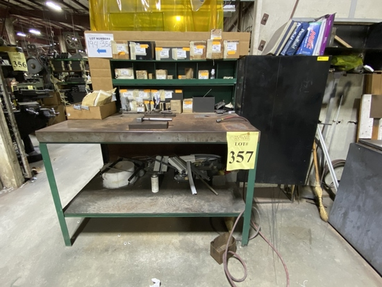 METAL WORK BENCH WITH CONTENTS OF PARTS,