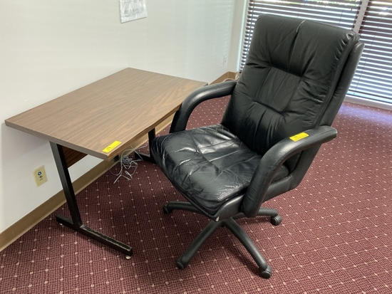 LOT CONSISTING OF DESK AND CHAIR
