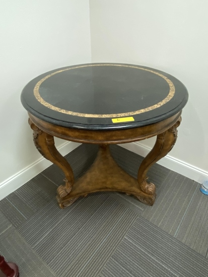 ORNATE ROUND DISPLAY TABLE WITH FAUX STONE TOP