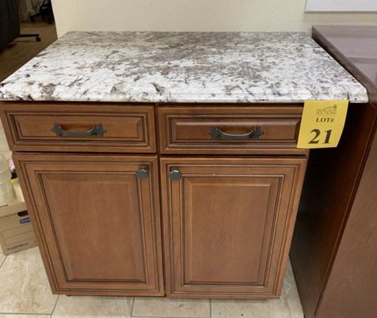 2 DOOR / 2 DRAWER CABINET WITH NATURAL STONE TOP