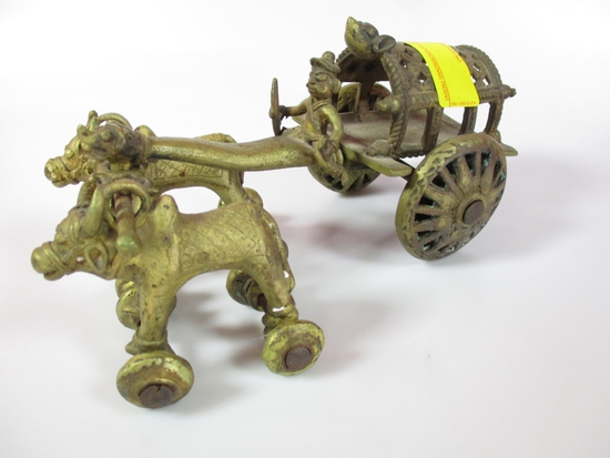 BRASS BULL DRAWN WAGON
