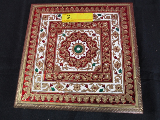 INLAID DECORATIVE BOX WITH FOREIGN COINS