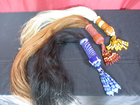 LOT CONSISTING OF (3) CEREMONIAL HORSE TAILS