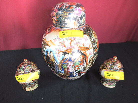 LOT CONSISTING OF ROYAL SATSUMA GINGER JARS