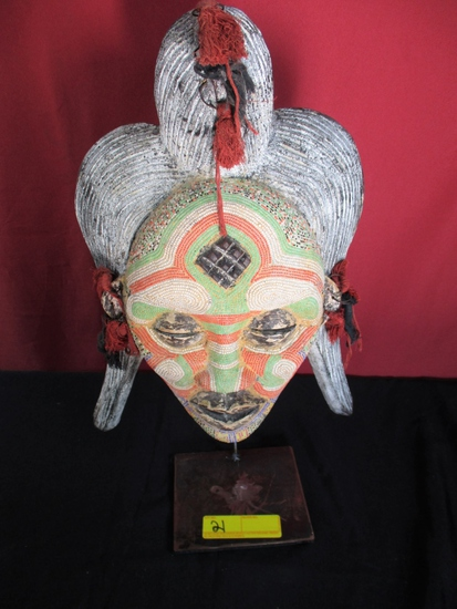 HAND CARVED AFRICAN WEDDING MASK
