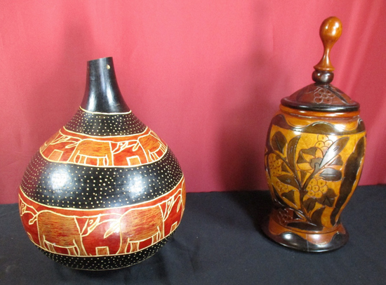 LOT OF (2) HAND CARVED URN AND GOURD