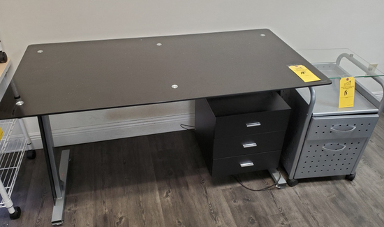LOT CONSISTING OF GLASS TOP DESK