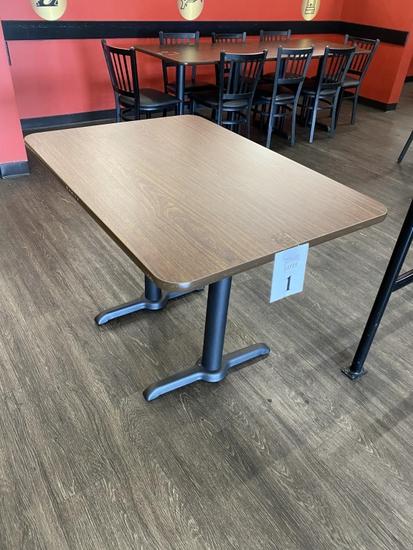 """FORMICA TABLES, DUAL STEEL PEDESTALS, 42"""" X 30"""""""