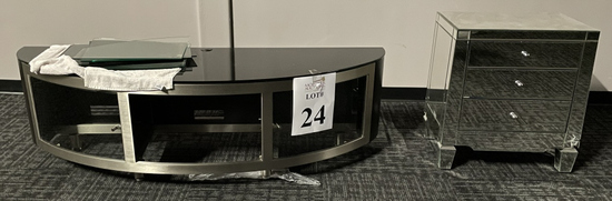 MIRRORED NIGHT STAND AND GLASS TOP TV STAND