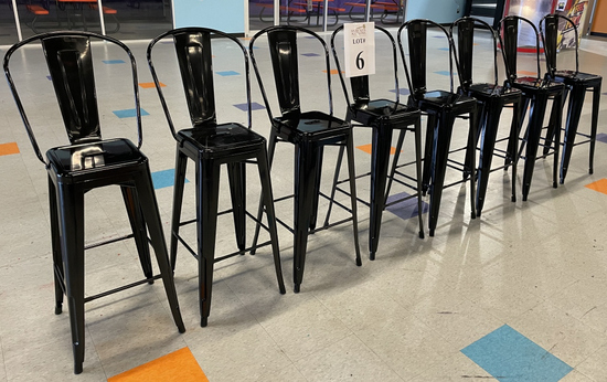 METAL FRAMED BAR HEIGHT CHAIRS AND TABLE