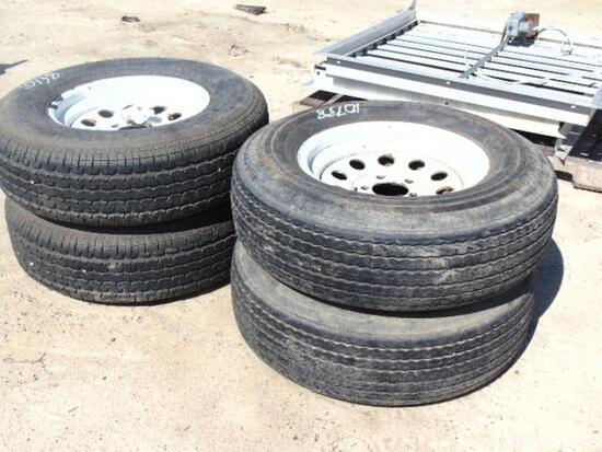 (4) Carlisle ST 225/75/R15 trailer tires & rims