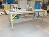 Lot - (2) Heavy Duty Metal Prep Tables with Wood Tops and Wheels