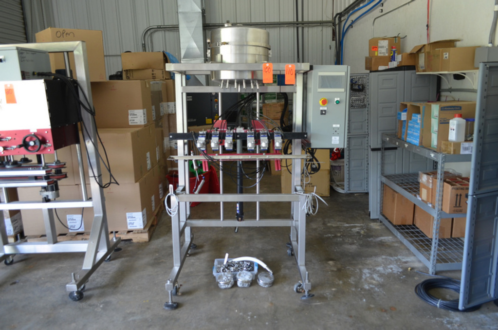 6- Head Filler with Hopper, Drip Plate and PLC Control Panel (Sold subject to bulk bid Lot: 100)