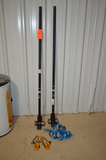 Lot - (2) Steel Moving Bars, Lift Device and Strap
