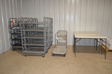 Lot - (7) Assorted Carts and (3) Folding Tables