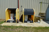 Lot - (2) JustRite Poly Blend Drum Sheds, Table and Shelf Unit