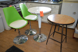 Lot - (2) Round Tables and (2) Stools