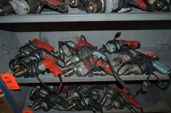 Lot - (9) Electric Drills; (7) Milwaukee and (2) Black and Decker