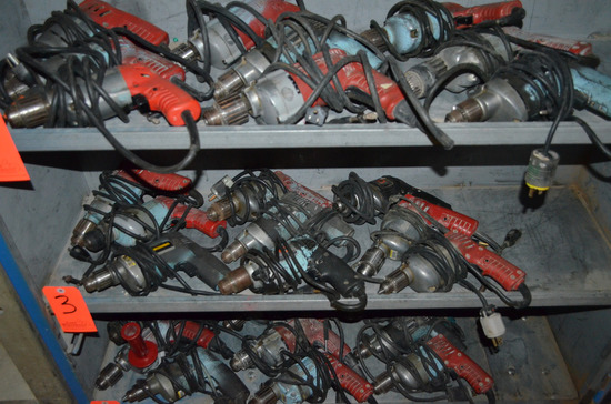 Lot - (9) Electric Drills; (5) Milwaukee and (4) Black and Decker
