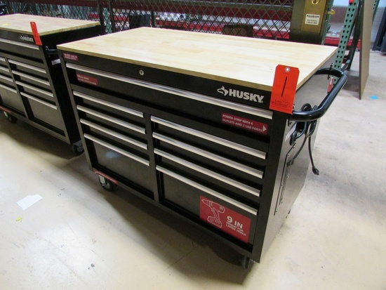 """Husky 9-Drawer Rolling Tool Box, 46""""x24-1/2"""" Wood Top, 4-Outlet 2-USB Port Built In Power Strip, wit"""