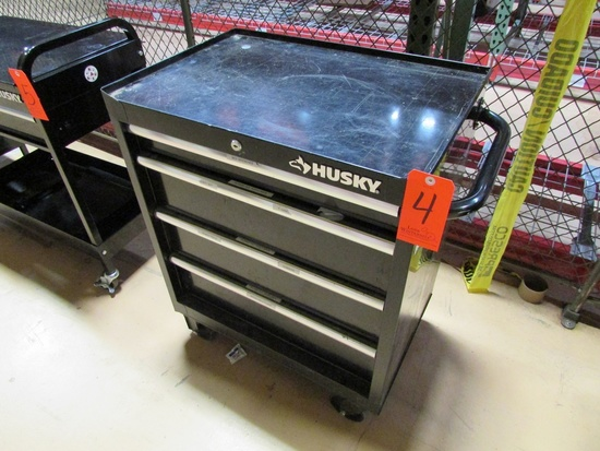 Husky 4-Drawer Rolling Tool Box with Assorted Contents