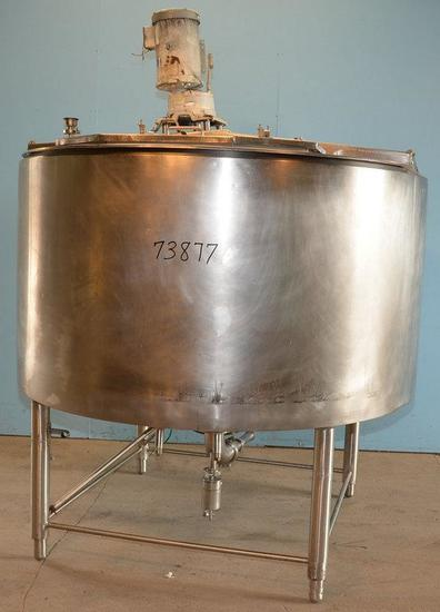 Crepaco 750 Gallon Crepaco S/S Vertical Jacketed Disk Turbine Agitated Cone Bottom Tank , 1983,