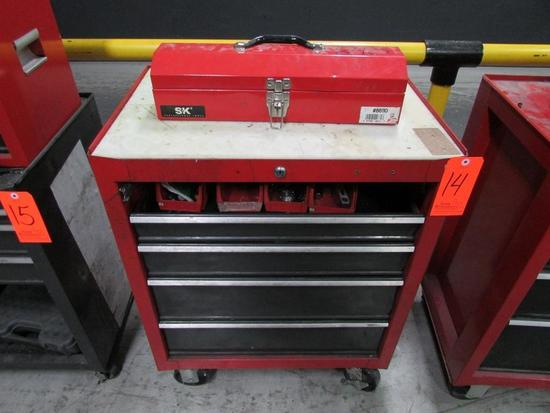 Craftsman 4-Drawer Rolling Toolbox; with SK Model 86110 Open-Top Toolbox, Assorted Hand Tools and