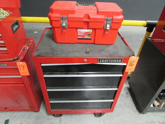 Craftsman Model 706.299060 4-Drawer Rolling Toolbox; with Ace Model 2131621 Open-Top Toolbox,