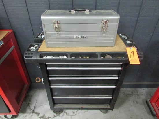 Westward Model 5HM185W 5-Drawer Rolling Toolbox; with Craftsman Open-Top Toolbox, Assorted Hand