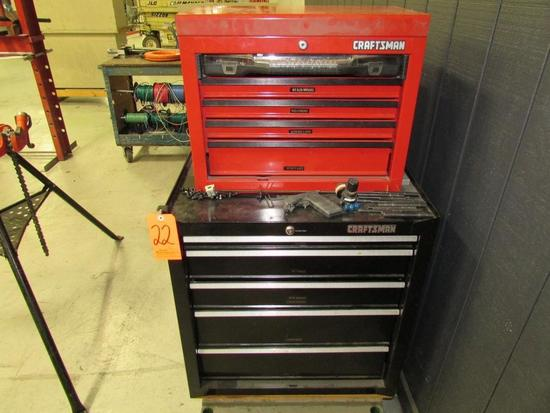 Craftsman Model 706.597790 5-Drawer Toolbox; with Craftsman Model 706.597440 5-Drawer Open-Top