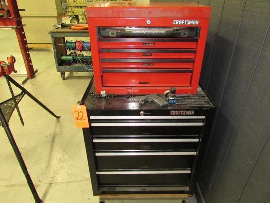 Craftsman Model 706.597790 5-Drawer Toolbox; with Craftsman Model 706.597440 5-Drawer Open-Top