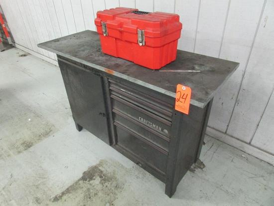 Craftsman 5-Drawer/1-Door Bulk Storage Toolbox; with Open-Top Toolbox, Assorted Hand Tools and