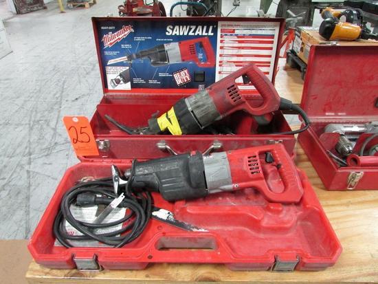Lot - (2) Milwaukee Heavy Duty Electric Sawzall Reciprocating Saws: (1) Cat. No. 6521-21, (1)