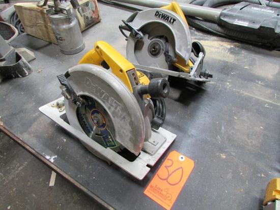 Lot - (2) DeWalt Electric Circular Saws: (1) Model DW384 8-1/4 in., (1) DW368 7-1/4 in.