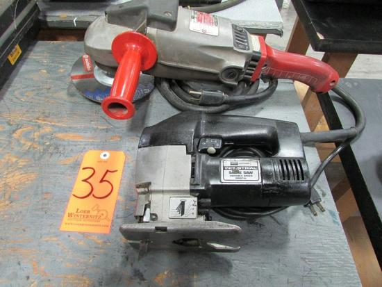 Lot - (2) Electric Power Tools: (1) Craftsman Model 900.272510 Variable Speed Orbital Sabre Saw, (1)