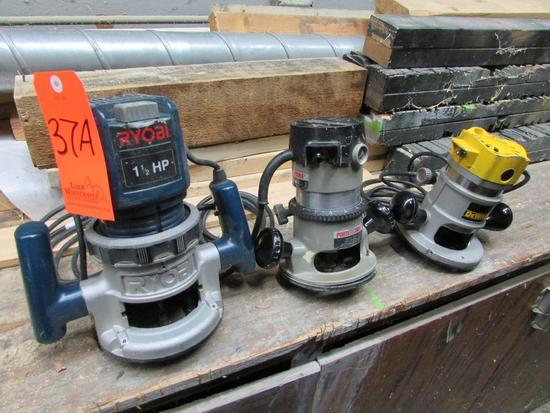 Lot - (3) Electric Routers: (1) DeWalt Model DW610, (1) Porter Cable Model 6902 with Model 1001