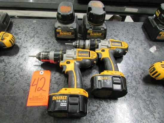 Lot - (2) DeWalt 14.4V Model DCD920 Cordless Heavy Duty 1/2 in. XRP Drill/ Drivers; with (4) 14.4V