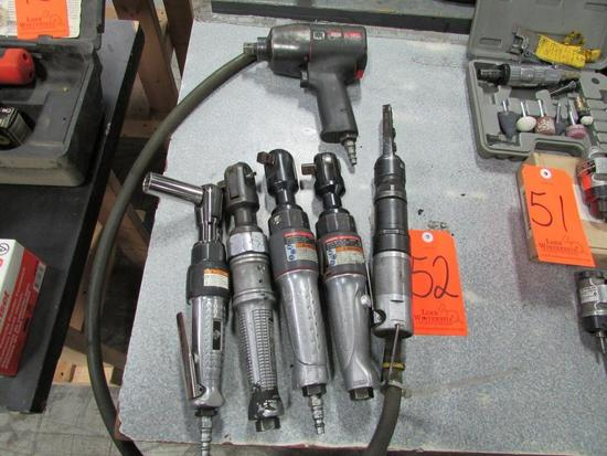 Lot - (6) Assorted Pneumatic Tools: (1) Ingersoll Rand Model IR2131 1/2 in. Impact Wrench, (3)