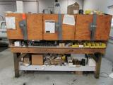 Lot - (2) Wood Worktables: (1) 8 ft. x 4 ft. with Cabinets and Assorted Tooling and Contents, (1) 96