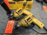 Lot - (2) DeWalt 3/8 in. Model DW106 Electric VSR Drills