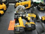 Lot - (3) DeWalt 14.4V Cordless Power Tools: (1) Unknown Model Flash Light, (1) Model DC930 XPR 1/2