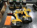 Lot - (2) DeWalt 14.4V Model DC983 Cordless Heavy Duty 1/2 in. XRP Drill/ Drivers; with (5) 14.4V