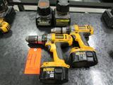 Lot - (2) DeWalt 14.4V Model DC983 Cordless Heavy Duty 1/2 in. XRP Drill/ Drivers; with (4) 14.4V