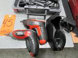 Lot - (4) Electric Power Tools: (2) Black&Decker Cordless Drivers with Charging Base, (1) Dremel